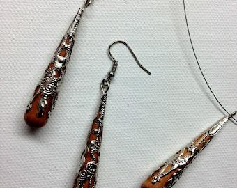 Metal Wrapped  Wood Bead Jewelry Set