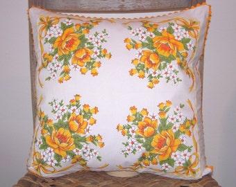 Handmade Vintage Handkerchief Pillow Cover, Decorative Pillow