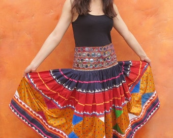 antique Vintage Kuchi Nomad Ceremonial Beaded Mirrored Skirt. Gypsy Tribal Boho Ethnic Afghan Turkish. Embroidered. Mirrors Bellydance