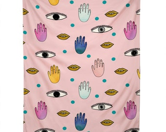 Eyes Hands Lips Dots pink wall tapestry, unique graduation gift dorm tapestry decor, Christmas gift idea living room bedroom apartment decor