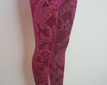 Ladies Metallic Magenta Paisley Velvet Leggings - pick your size