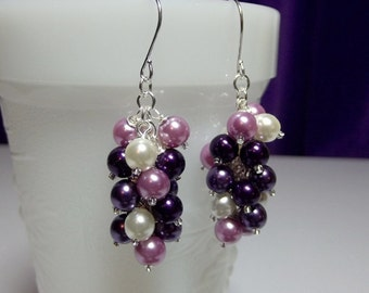 Purple Lilac Lavender White Pearl Cluster Earrings, Christmas Mothers Day Gift, Mom Sister Birthday Bridesmaid Wedding jewelry Gift