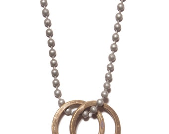 Gifts for men - Jewelry for men - Two brass rings necklace - steel ball chain necklace - Ring necklace for men - Double ring necklace