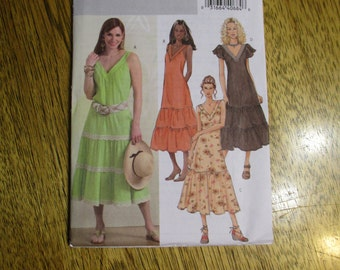 EASY A Line Southwestern Style Dress with BOHO Ruffled Hems / Peasant Gown - Size (8 - 10 - 12 - 14) - UNCUT Sewing Pattern Butterick 4793