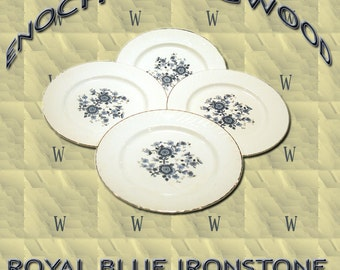 "Enoch Wedgwood "" Royal Blue Ironstone"" Dinner Plates (4)"