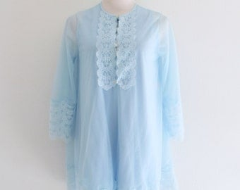 1960s Nightgown Robe Set Baby Blue Lace Sheer Cover Up Gilead Lingerie Nightie Womens Vintage Medium