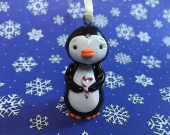 Little Penguin Christmas Ornament - Polymer Clay Sculpture Art - Keepsake - Art by Sarah Price