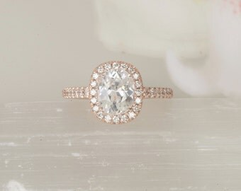 SOLD White Sapphire Rose Gold Engagement Ring Cushion Shape in Diamond Halo Unique Wedding Ring Bridal Ring