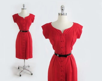 Vintage 50's Red Linen Wiggle Sheath Day Party Dress L