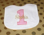 Birthday Bib  1st   Personalized Monogrammed  Girl   Pink and Gold