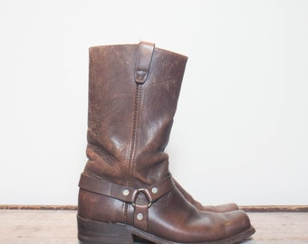9.5 D | Men's Vintage Sears Harness Boots Distressed Brown Leather Biker Boot