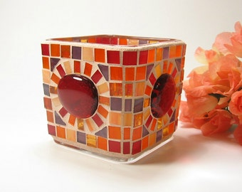 Stained glass mosaic votive candle holder orange red purple