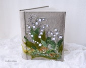 Lilly of the Valley Photo album 4 x 6, Embroidered photo album cover, Rustic photo album, family photo album, Linen photo album.