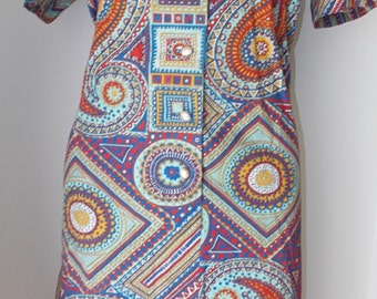 Colorful Paisley Cotton Dress Cape Cod Casuals Vintage Day Dress 1950s