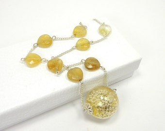 Unique Gold and Silver Fidget Necklace, Gold Flecked Glass Globe Filled with Silver Beads on Necklace with Faceted Citrine Beads OOAK