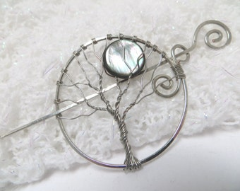 Silver Tree of Life Hair Pin, Silver Tree of Life Shawl Pin with Moon, Silver Wire Wrapped Tree with Iridescent Gray Shell Moon