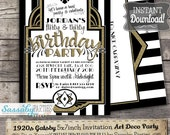 Gatsby 1920s Art Deco Invitation - INSTANT DOWNLOAD -  Editable & Printable Birthday Party Invitation by Sassaby Parties