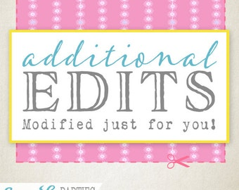 Additional Edits Add On - An item modified just for you! Sassaby Parties Custom Design