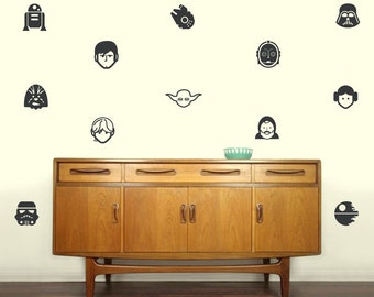 Star Wars Characters Silhouette vinyl decals  | Set of 12 | Make Your Own Removable Star Wars Style Wallpaper Decor | FREE SHIPPING