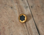 Brass Tie Pin Black Star lapel pin - Made with a small brass and black button
