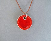 Ceramic Pendant, Hippie Necklace, Minimal Jewelry, Gift for Her, Orange Pendant