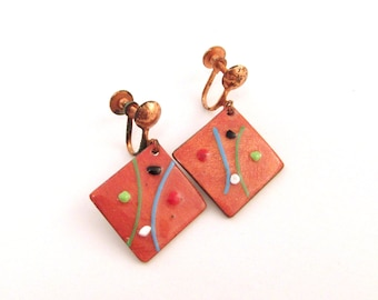 Orange Enameled Copper Earrings - Mid Century Modernist - 1950s Screw Backs - Diamond / Square