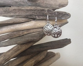 Silver Sand Dollar Earrings, Beach Bridal Shower Favors, Gifts for Her Under 10, Beach Lovers Gift, Sand Dollar Jewelry, Dangle Earrings