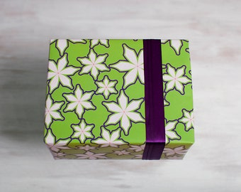 Green Recycled Gift Wrap, Poinsettia Wrapping Paper, Eco-Friendly Christmas Hanukkah Winter Present, Red Flowers, Made in the USA