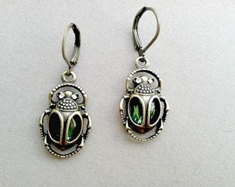 Emerald Cleopatra Beetle Dangle Earrings Egypt, pharro, Green