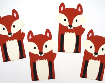 6 Fox Loot Bags Woodland Animal Party Themed Favor Loot Goody Bags Birthday Party or Baby Shower Decoration Fox Gift Bags Loot Bag Favor Bag