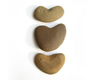 3 Heart Stones - Natural Beach Pebbles - Valentines Day, Wedding Decor