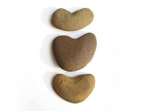 3 Heart Stones - Natural Beach Pebbles - Valentines Day, Wedding Decor