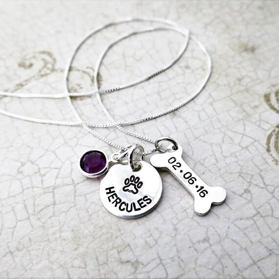 Pet Adoption Jewelry - Personalized Pet Necklace - Custom Paw Print Necklace - Dog Bone Necklace - Adoption Date Jewelry - Birthstone