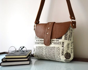 Gift For Wife, Leather Canvas Messenger Crossbody Bag, Gift For Women, Newspaper Bag, Back To School Bag, Gift For Her, Gift For Girlfriend