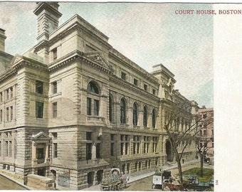 Boston Court House 1906 - 1907 Vintage Undivided Back Postcard Historical Site Horse and Buggy