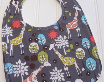 Baby Bib/Infant--18 mo./Giraffe Garden/Organic Fleece Back