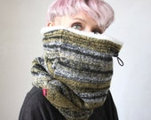 Wool cowl scarf, Chunky scarf, Chunky cowl,  Snock® in unique wool knit lined with faux lamb