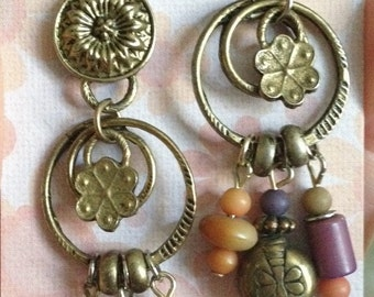 Antique brass upcycled vintage post earrings, one of a kind, dangle earrings