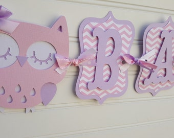 Owl Baby Shower Banner, It's A Girl banner, Baby Shower Banner, Baby Shower Decorations, Purple and Gray banner. Owl baby shower decoration