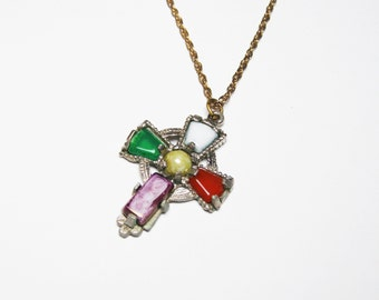 Celtic Cross Pendant Necklace - Vintage Colorful Cross in Miracle Brand Style