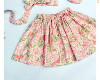 Girls Pink Floral Skirt Girl Skirt Baby Skirt Floral Cotton Skirt Twirl Skirt Birthday Outfit Spring Skirt Summer Skirt 18 months 2T 3T 4T 5