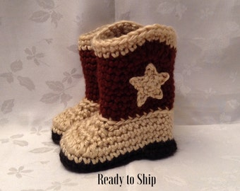Baby Cowboy Boots Ready to Ship  Brown and Tan Crochet baby cowboy booties 3 to 6 month Infant Booties