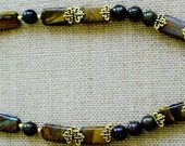Bronzite Pendant and Tiger Iron Beads Necklace
