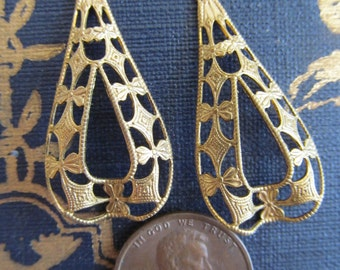8 Vintage Hooped  Filigree Finding With Cutout Teardrop Center
