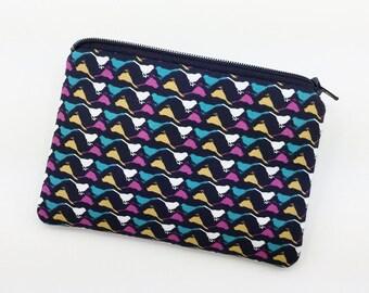 Bird Coin Purse, Small Zipper Pouch,  Card Wallet, Little Gadget Case, Gift idea, Black, Padded