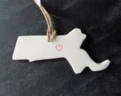 Massachusetts State Clay Tag - Boston,Worcester ,Ornament, Gift Wrap & Decoration