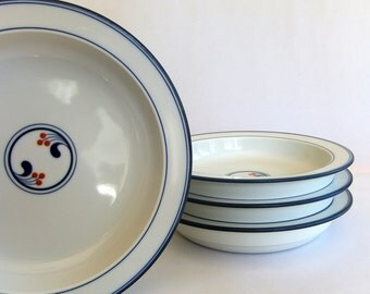 4 Vintage Dansk Bistro Rim Soup Bowls, Lindholm pattern - Red Berries, Blue and White, Niels Refsgaard, Scandinavian Modern, made in Japan