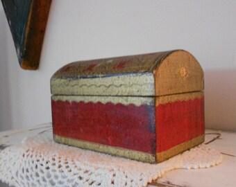 Vintage Florentine Neoclassical Aged Crimson and Gilt Treasure Box