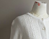 Vintage Cardigan   White Sweater   Button Up   Spring Style   Pearl Buttons   Textured Knit   Neutral