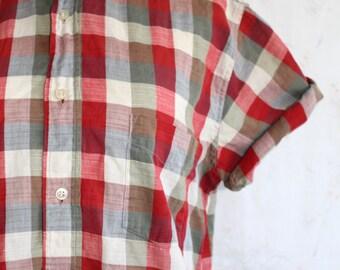 Vintage Linen Blouse, Button Up, Woven, Plaid, Checkered, Boxy, Minimalist, Modern